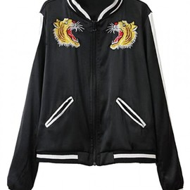 Tiger Embroiderey Baseball Jacket
