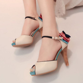 Multicolor Bowknot High Stiletto Heel Peep-toe Sandal