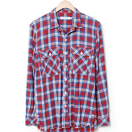 nonnative - WORKER SHIRT - COTTON INDIGO CHECK