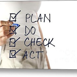 Fine Art America - Woman Writing Plan Do Check Act Metal Print By Blink Images