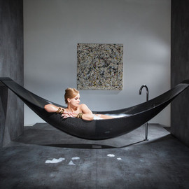splinter works - a hammock-shaped carbon fibre bathtub