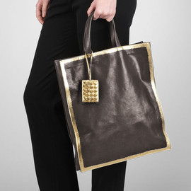 BOTTEGA VENETA - Nero Oro Gilded Waxed Leather Tote