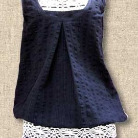 peroto - Pure cotton top with contrast lace decoration