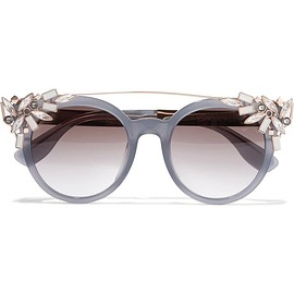 Jimmy Choo - Vivy embellished round-frame acetate and gold-tone sunglasses
