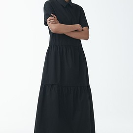 cos - DRESS WITH GATHERED PANELS