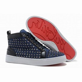 Blue Canvas Christian Louboutin Louis Spikes High Top Mens Red Sole Shoes