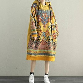 Oversized dress - Women Hooded Maxi dress, long sleeved dress, Loose bottoming dress in yellow, red,