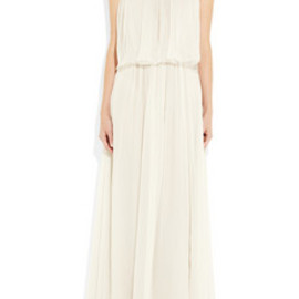 Chloe - Flower-appliquéd silk-mousseline gown