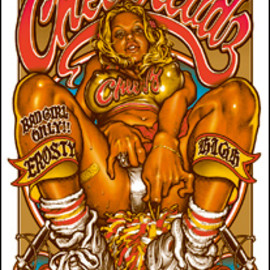 "Rockin' Jelly Bean - ""THE NAUGHTY CHEER HEADZ"" SILK SCREEN POSTER"