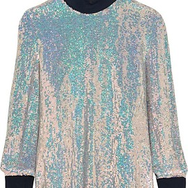 3.1 Phillip Lim - Jersey-trimmed sequined silk turtleneck top