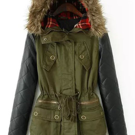 Contrast PU Hooded Pockets Loose Coat pictures