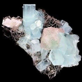 Aquamarine with bi-color Fluorite