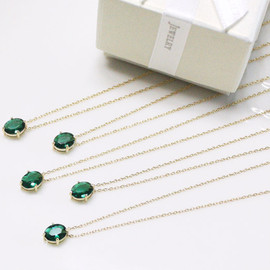 Simple bridesmaid gifts - Set of 5 - Emerald pendant necklace
