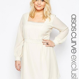 ASOS - Image 1 of ASOS CURVE Boho Lace Trim Swing Dress