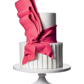 Bright Hot Pink Bow on White Cake
