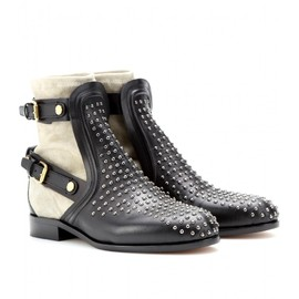 Chloé - STUDDED LEATHER AND SUEDE ANKLE BOOTS