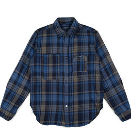 ENGINEERED GARMENTS - Work Shirt-Heavy Twill Plaid-Gry/Nvy