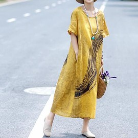 short sleeved dress - Yellow linen dress, maxi linen dress in green, short sleeved dress, Long dress, summer dress