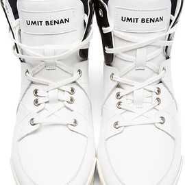 Umit Benan - White Tricolor Leather High-Top Sneakers