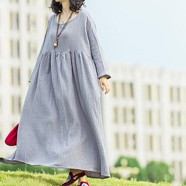 dress women - Light grey maxi dress, Loose Fitting Women's dress, boho dress, Floor length dress
