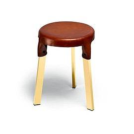 Wood and Leather Stool