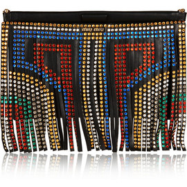 miu miu - Swarovski crystal-embellished fringed leather clutch