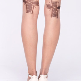 ROMWE - Cross Heart Print Nude Tights