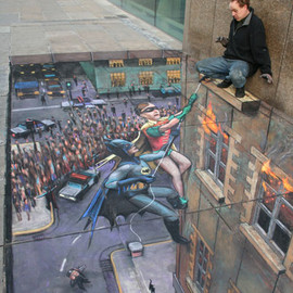 julian beever - Batman and Robin to the rescue