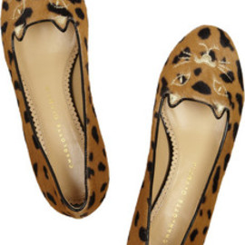 Charlotte Olympia - Kitty embroidered animal-print calf hair flats
