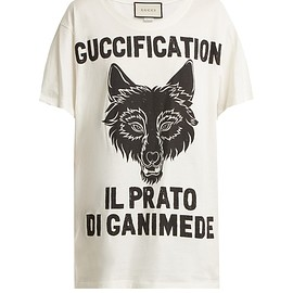 GUCCI - Resort 2018 Wolf head printed cotton T-shirt