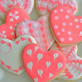 lovely heart sugar cookies