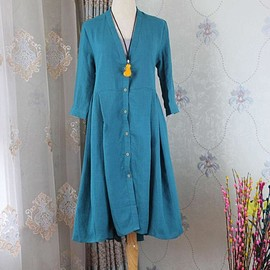 One button linen shirt, Long outer thin coat, linen tunic shirt, long sleeve maxi shirt