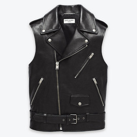 Saint Laurent Paris - Classic Motorcycle Vest in Black Leather