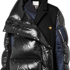 sacai - Oversized wool-paneled quilted shell down coat