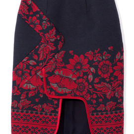 Prabal Gurung - Piped Border Panel Skirt in Red Floral Print