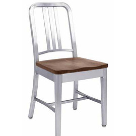 emeco - 1104 NAVY CHAIR WITH NATURAL WOOD SEAT
