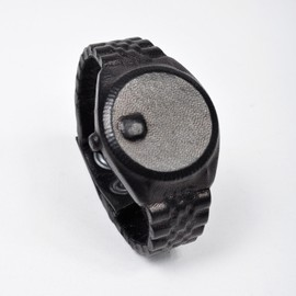 Natalia Brilli - Black leather Nolex watch by Natalia Brilli