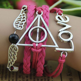 Harry Potter Angle Wings Mulitlayer Bead Love Letters String Bracelet