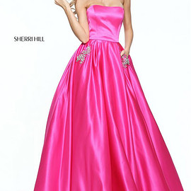 dresses - Sherri Hill 50812 Beaded Pockets 2017 Straight Neck Fuchsia Strapless Long Satin Prom Dresses