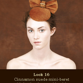 Piers Atkinson - Cinammon suede beret with bow and buckle