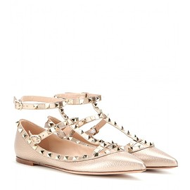 VALENTINO - Pre-Fall 2015 Rockstud metallic leather ballerinas
