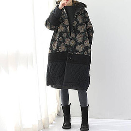 long padded coat - Womens Winter coat Hooded single breasted long padded coat/ Black
