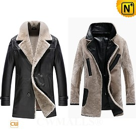 CWMALLS - Christmas Gift | CWMALLS® Milwaukee Custom Black Shearling Leather Coat CW890013 [Patented Product]