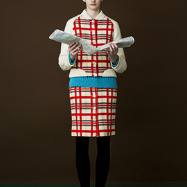 MUVEIL WORK - Check Tweed Skirt