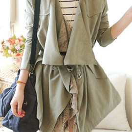 fashion - Image of [grzxy6600388]British Style Elegant Lapel Lace Spliced Pure Color Trench Coat