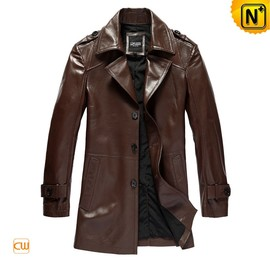 CWMALLS - Brown Leather Duster Trench Coat CW861561 - CWMALLS.COM