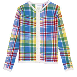 THOM BROWNE - Crewneck Cardigan In Blue Madras Plaid Silk Cashmere