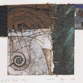 林孝彦 - D-26.Feb.1992  22x23cm  painting,collage on paper  林孝彦 HAYASHI Takahiko 1992
