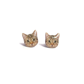 Cute Black and White Round Eyes Cat Kitten Stud Earrings - A14E84