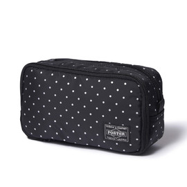 """HEAD PORTER - """"DOT"""" GROOMING POUCH BLACK/SILVER"""